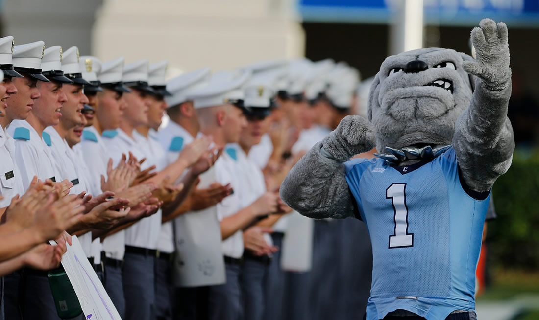 Spike the Bulldog at a Citadel Football Game