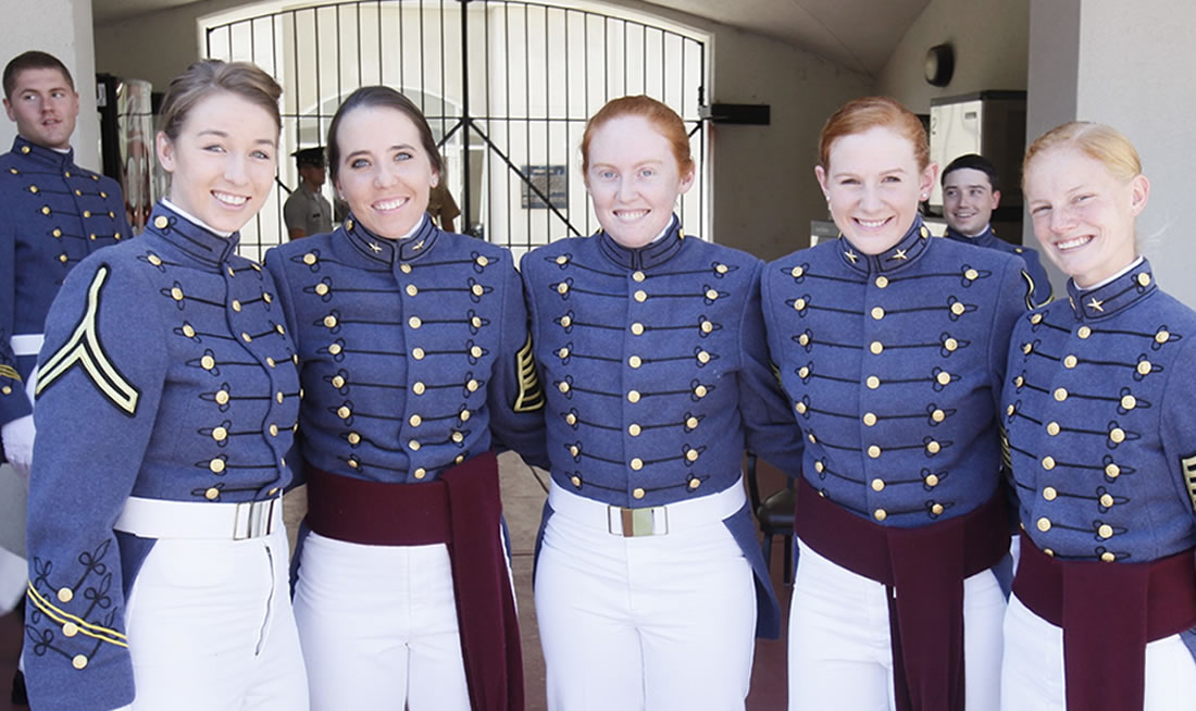 Female Cadets Outside of the Barracks at The Citadel