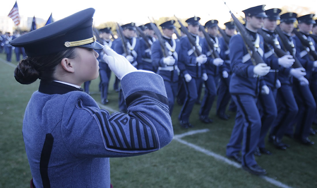 A Female Cadet Salutes