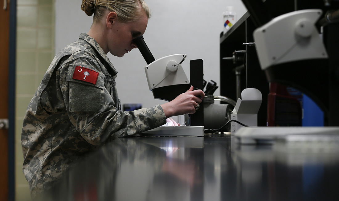 Cadets performing biology research at The Citadel
