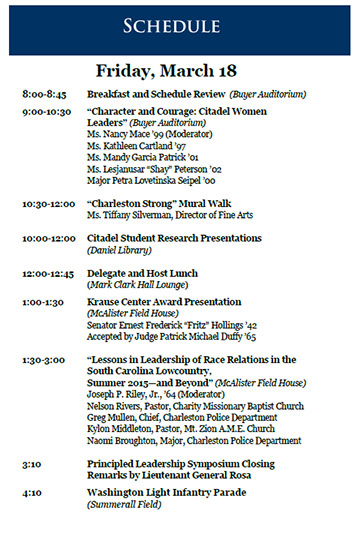 leadership symposium march 18 schedule
