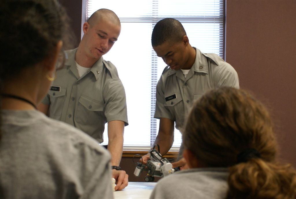 Engineering Students from The Citadel teach school children on Leadership Day