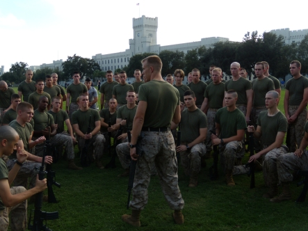 A MECEP teaching martial arts to Marine Contingent Cadets