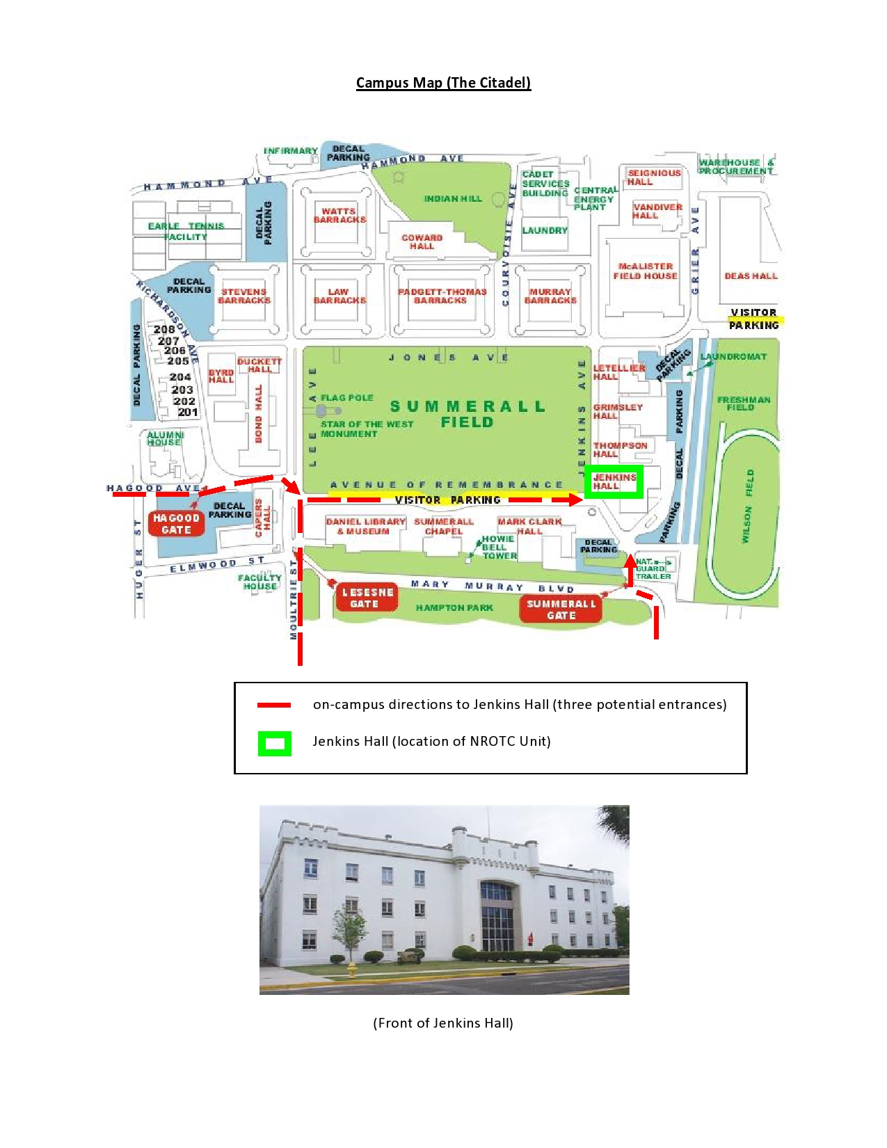 Directions To Campus Campus Map Nrotc The Citadel