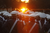 citadel cadets in the fall sun of charleston sc