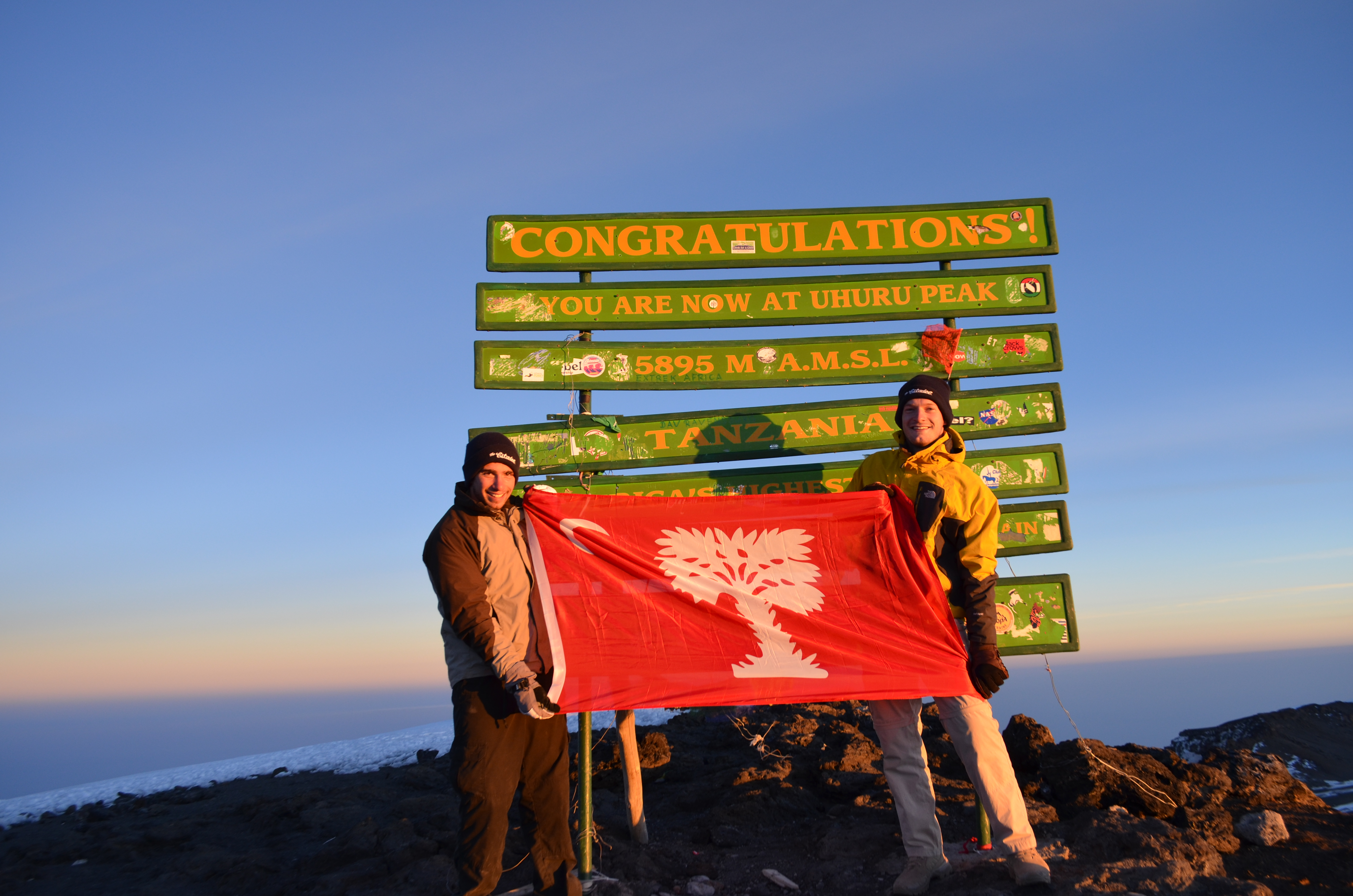 Strainere and classmate Franklin McGuire on the top of Mt. Kilimanjaro