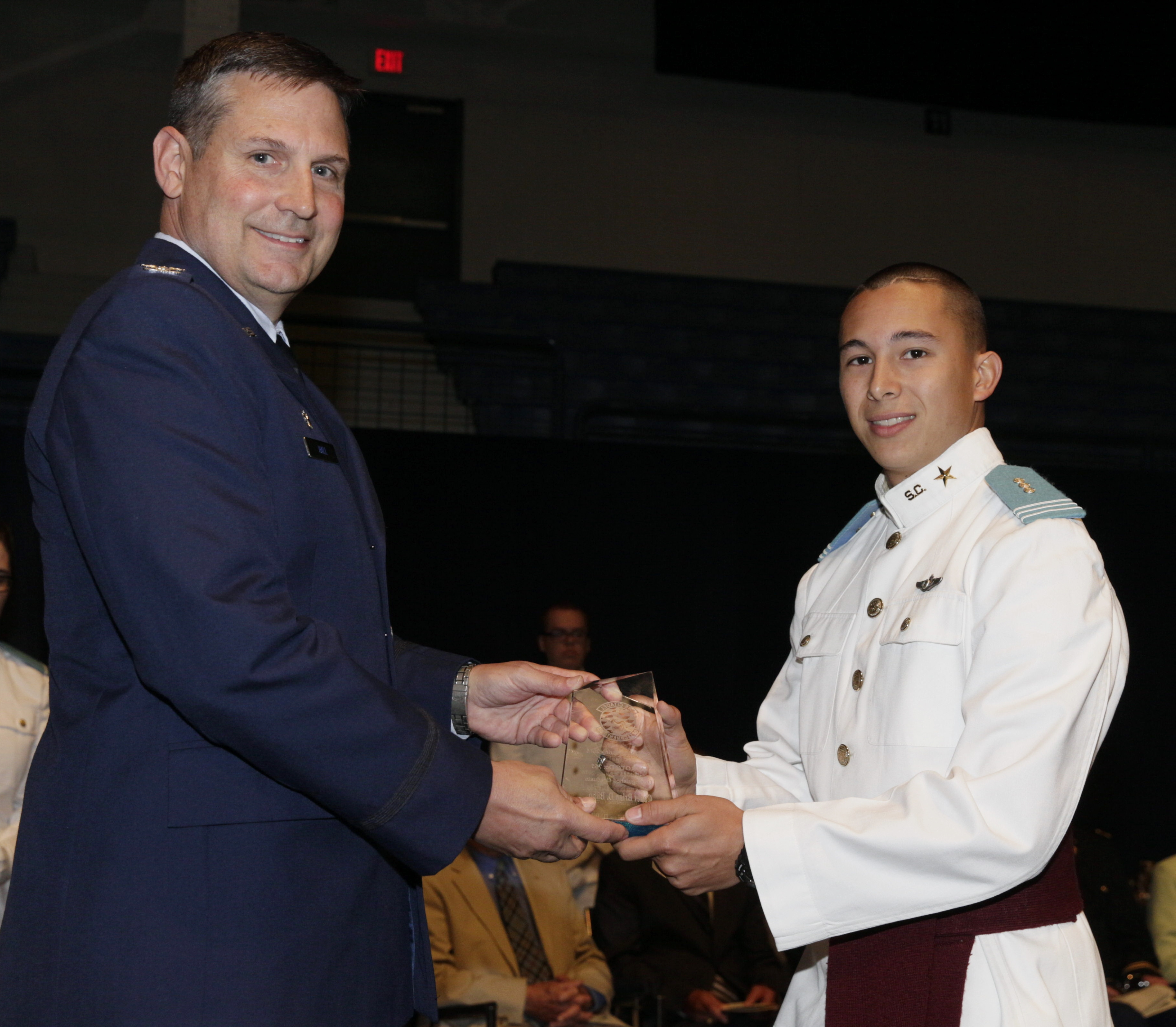 Lt. Brian Bilbo received Air Force ROTC award from Col. Clay Hall