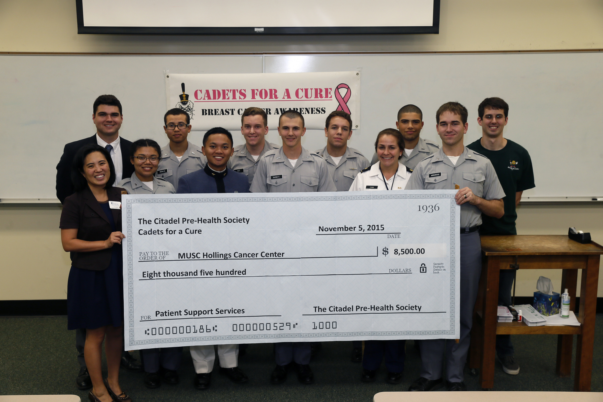 cadets for a cure check to musc