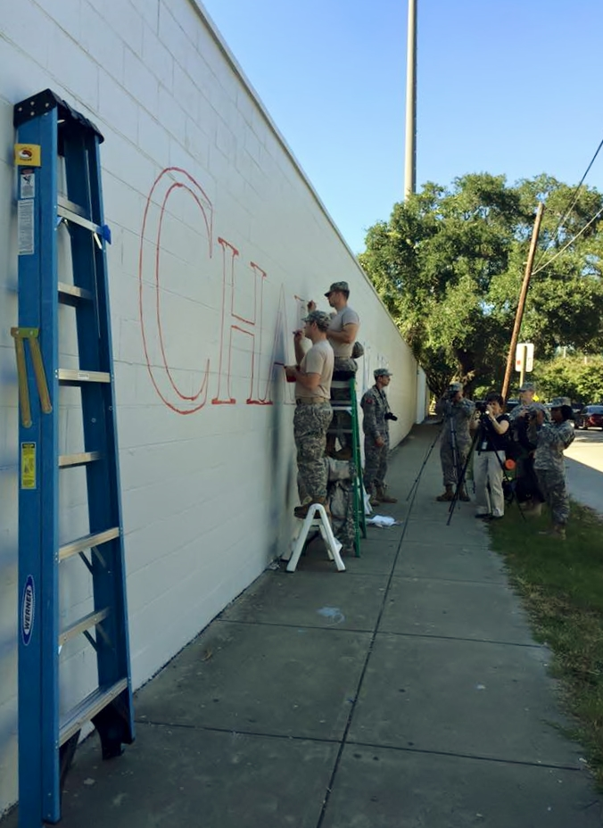 Citadel cadets working on Charleston Strong mural