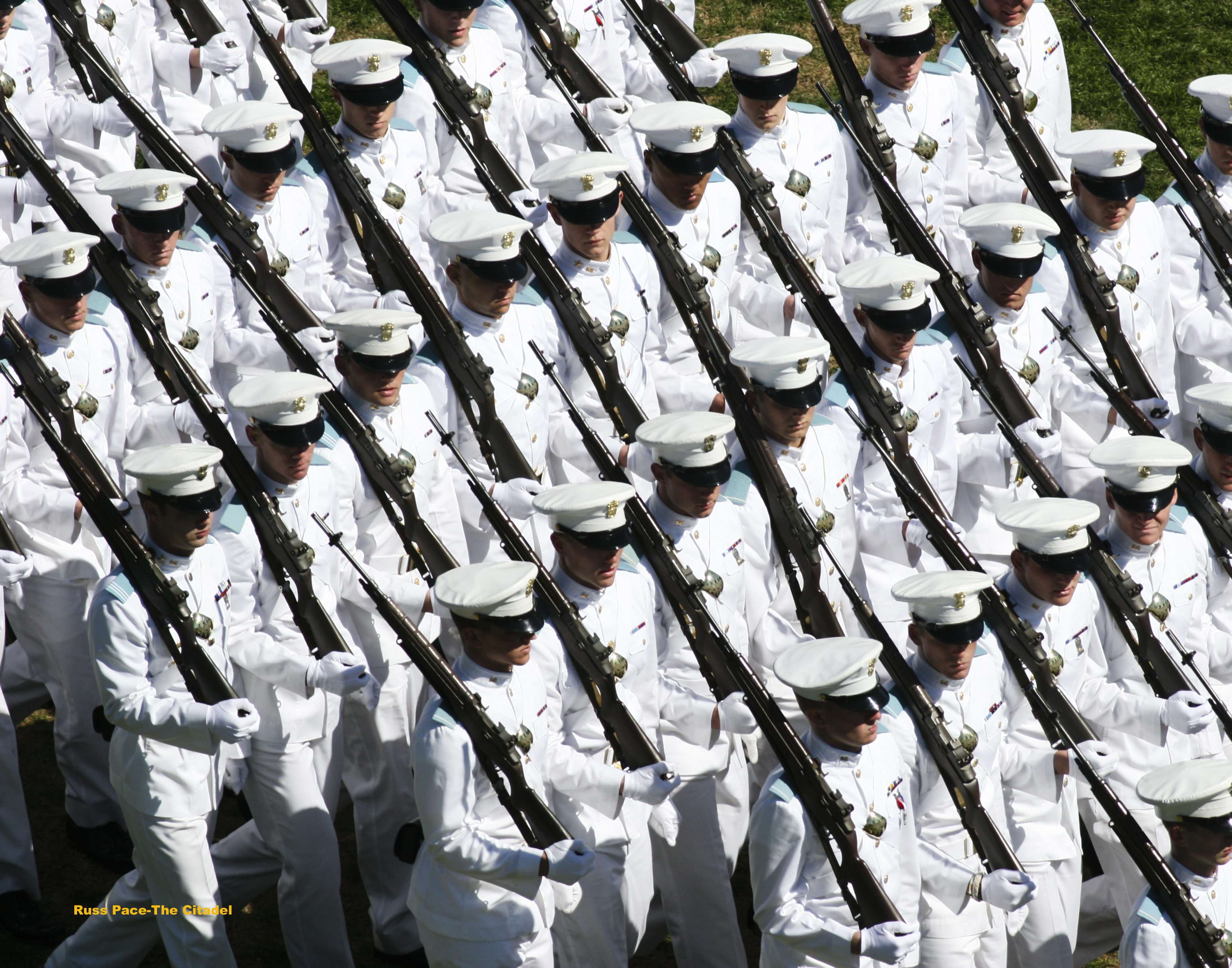 Russ Pace photo of summer uniform cadet formation