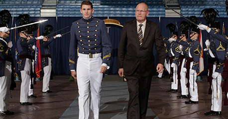 Cadet Tom Koopman and his father attend Class of 2017 ring ceremony in Oct.