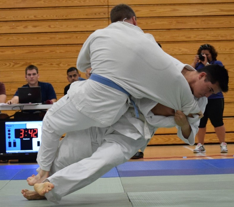 Cadet Dillon Chow throws his opponent to win the match for The Citadel Judo Club