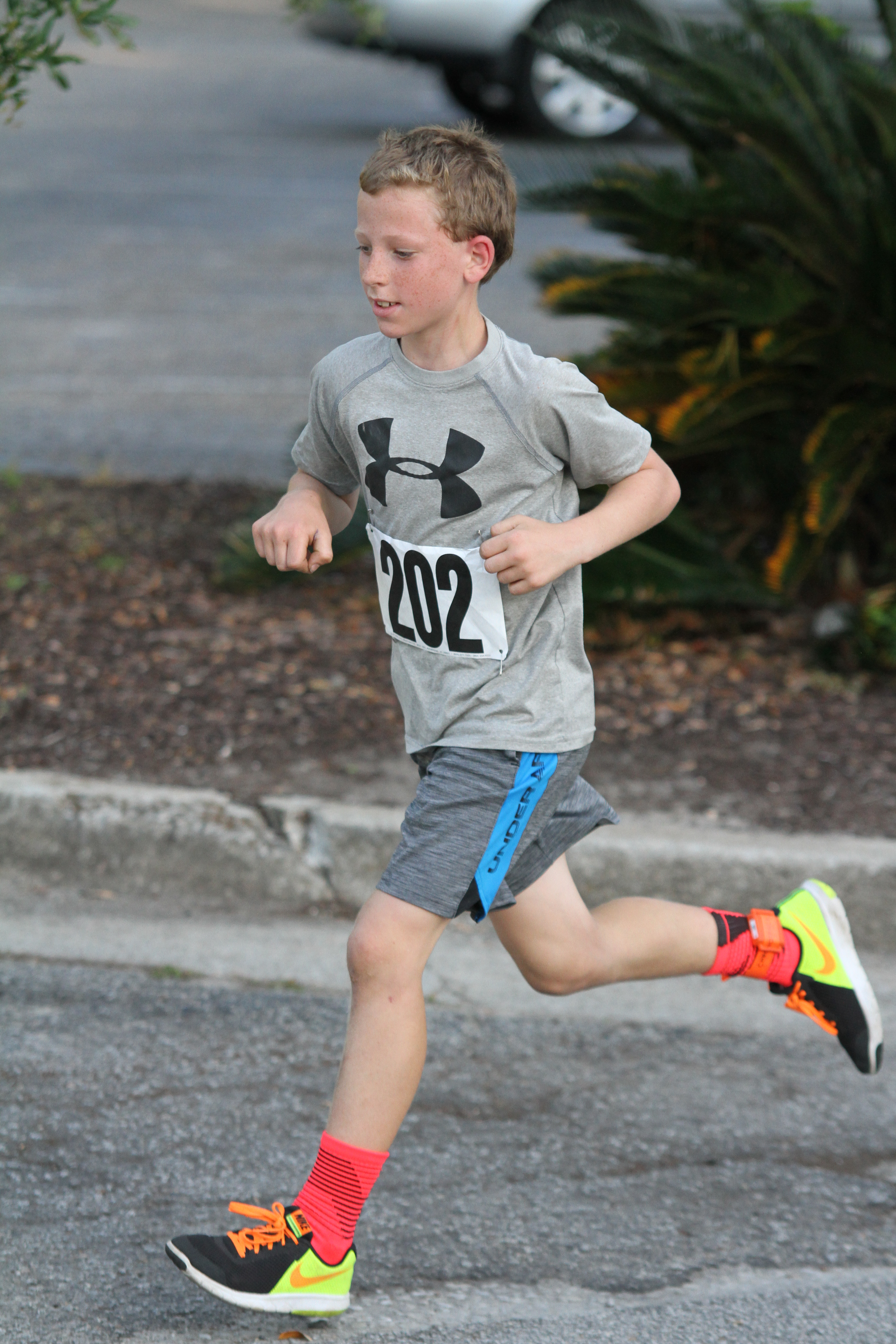 11 year-old Preston Kut running in on e of the Bulldog Breakaway 5K events