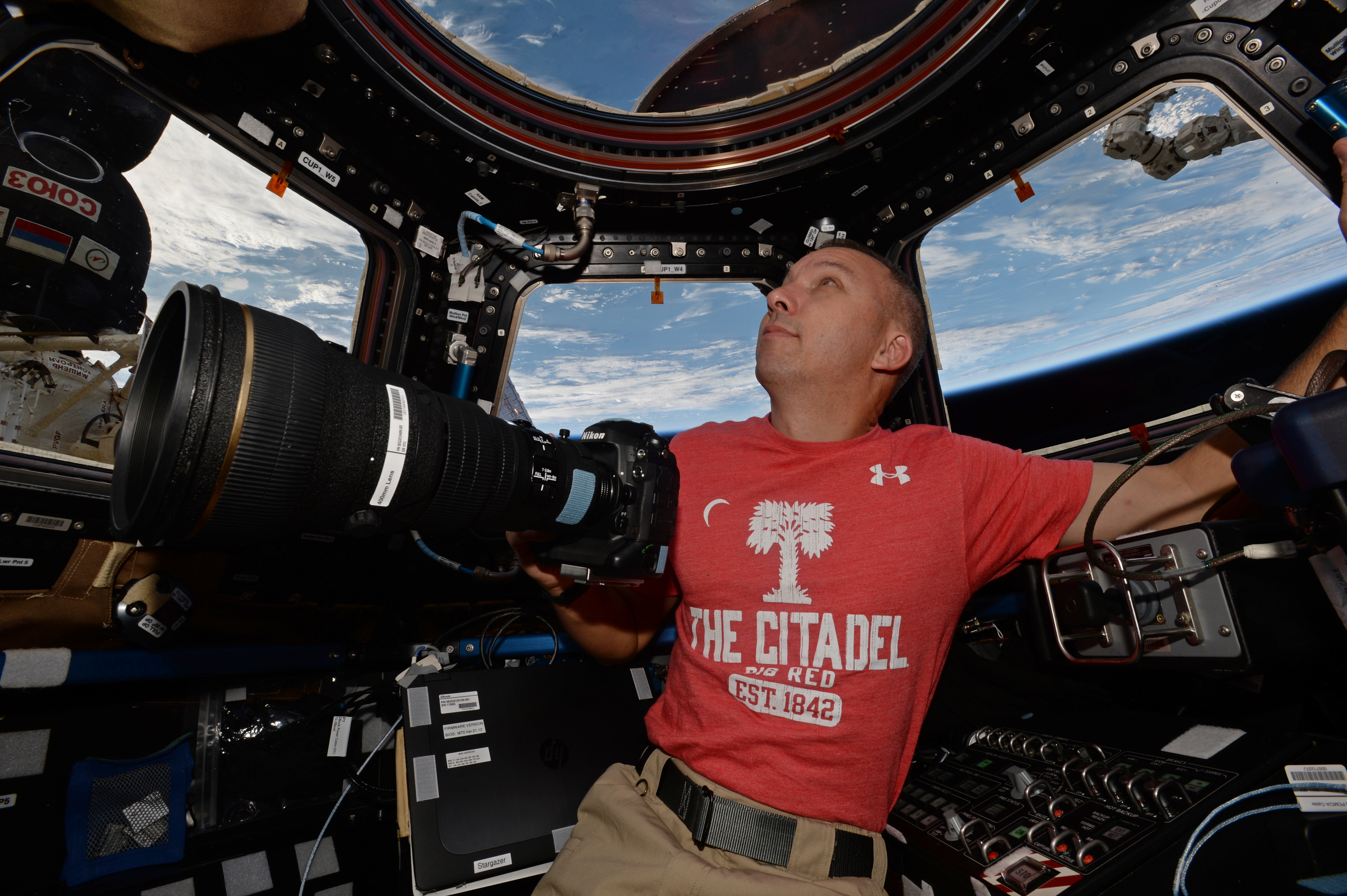 nasa astronaut citadel alumnus bresnik wears citadel shirt in space