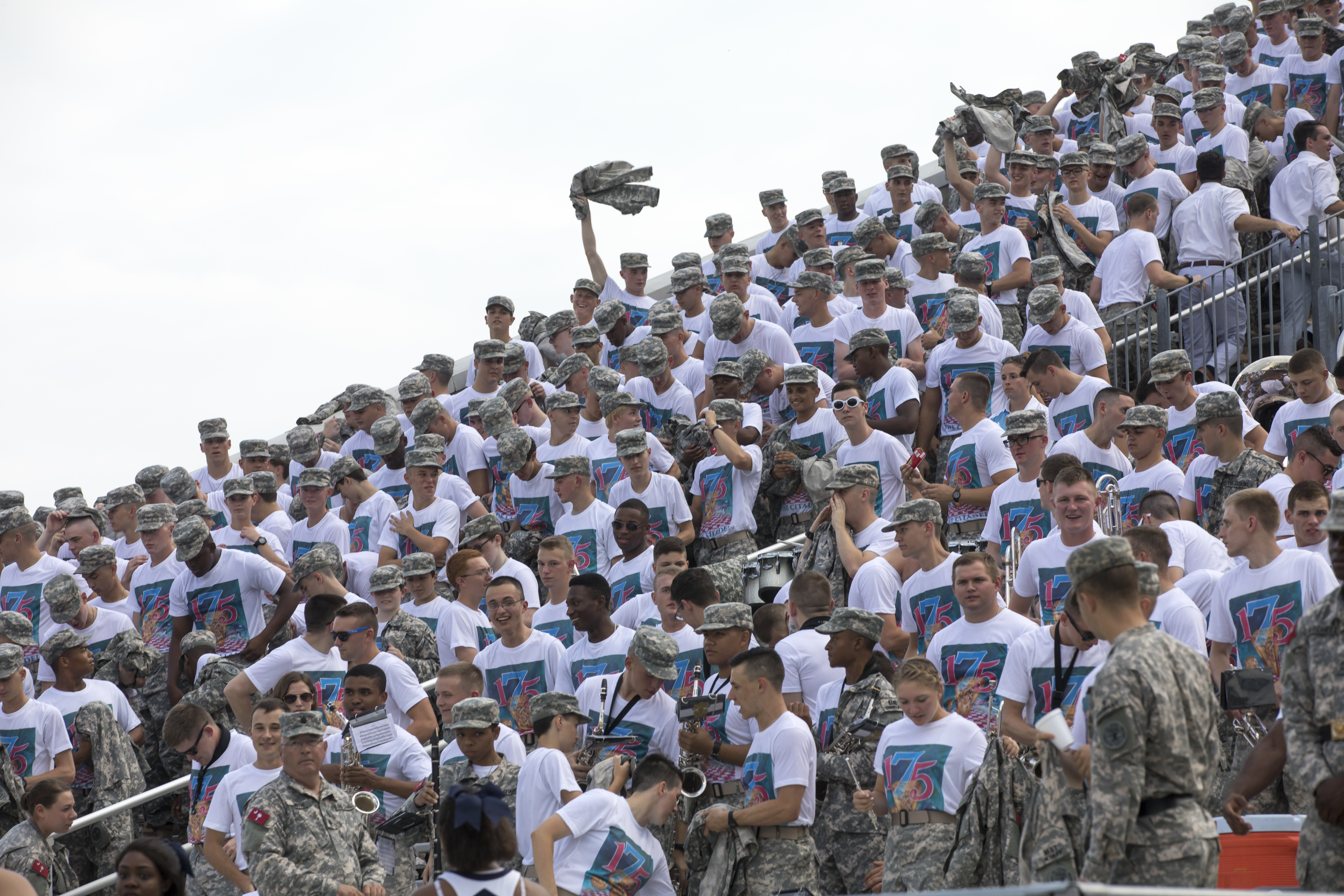 cadets wear 175 anniversary t-shirts at football game