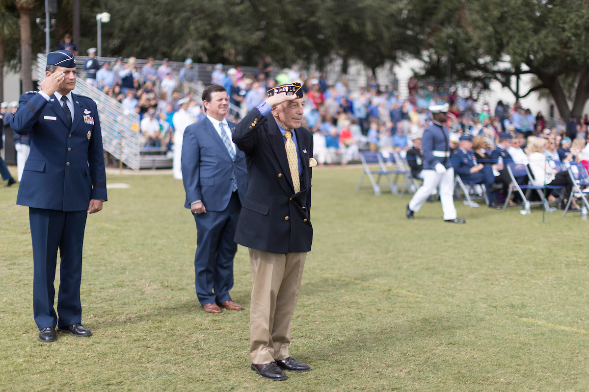 Carmine Pecorelli Citadel Class of 1954 takes review of parade at homecoming