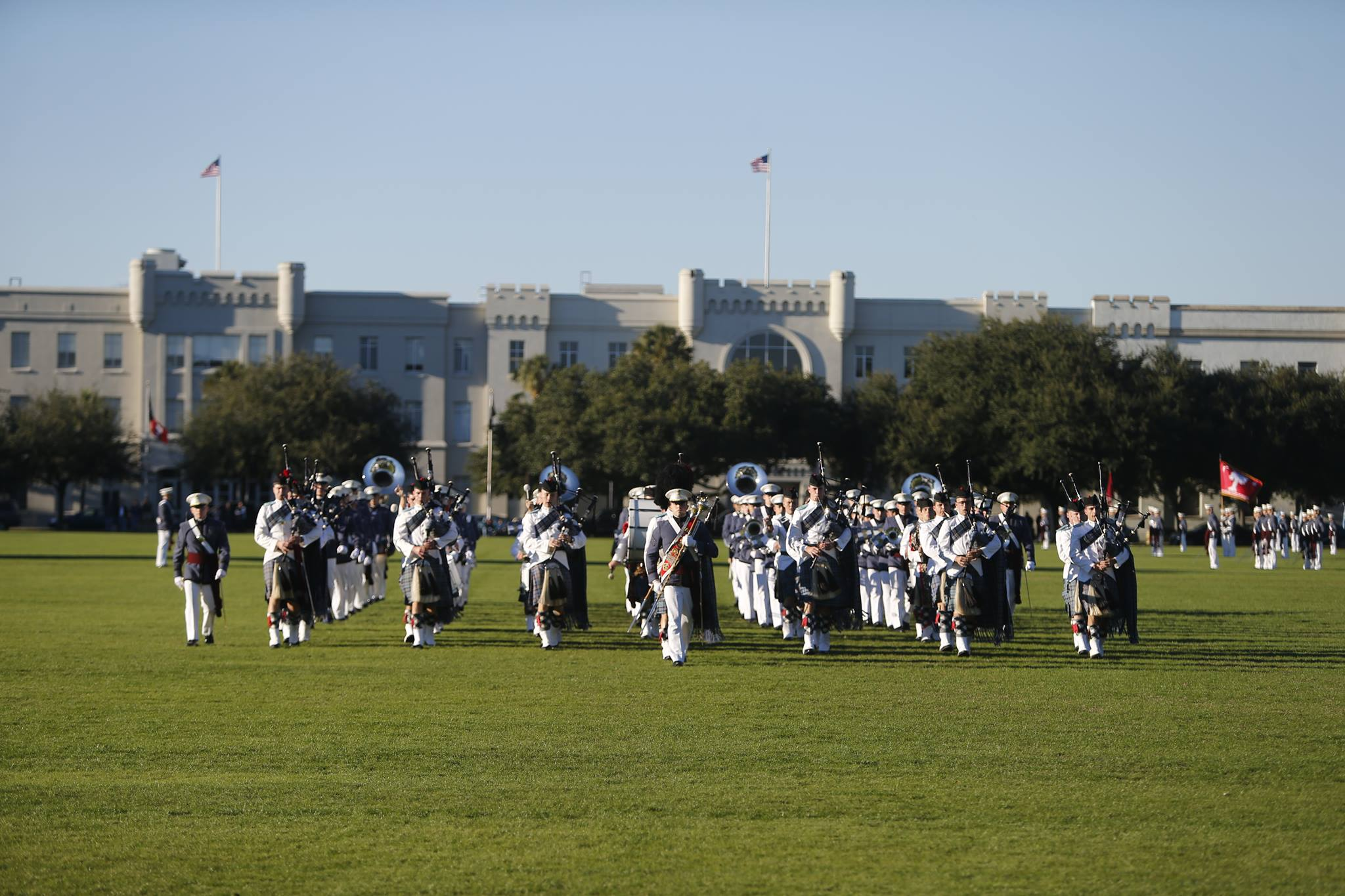 The-Citadel-Regimental-Band-and-Pipes-on-campus-2015-Charleston-SC