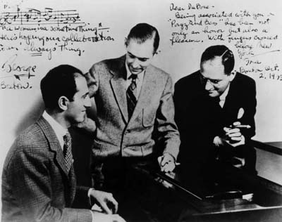DuBose Heyward flanked by Ira and George Gershwin, Spring 1934; courtesy The Ohio State University Libraries