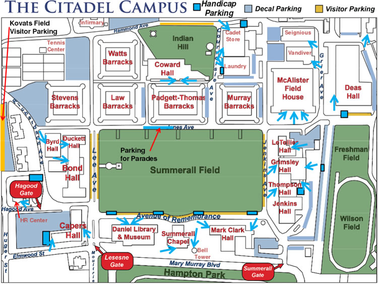 ADA Parking on The Citadel campus