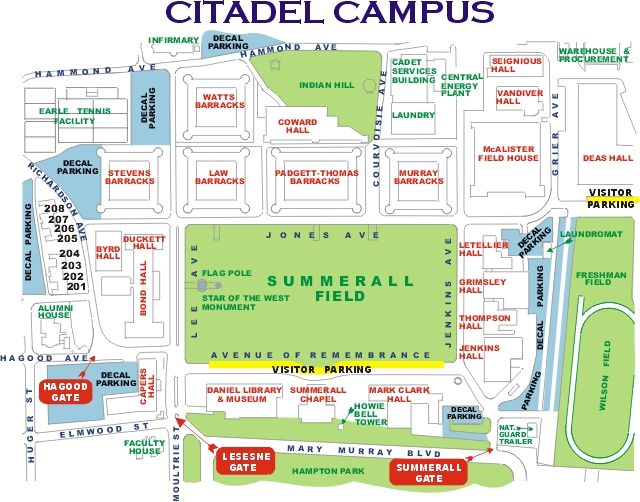 Helpful Area Maps of Downtown Charleston and The Citadel The – Charleston Tourist Map