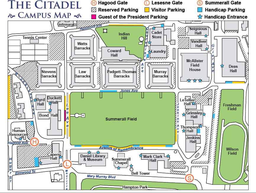 Visitor Parking on The Citadels campus The Citadel Charleston SC – Charleston Tourist Map