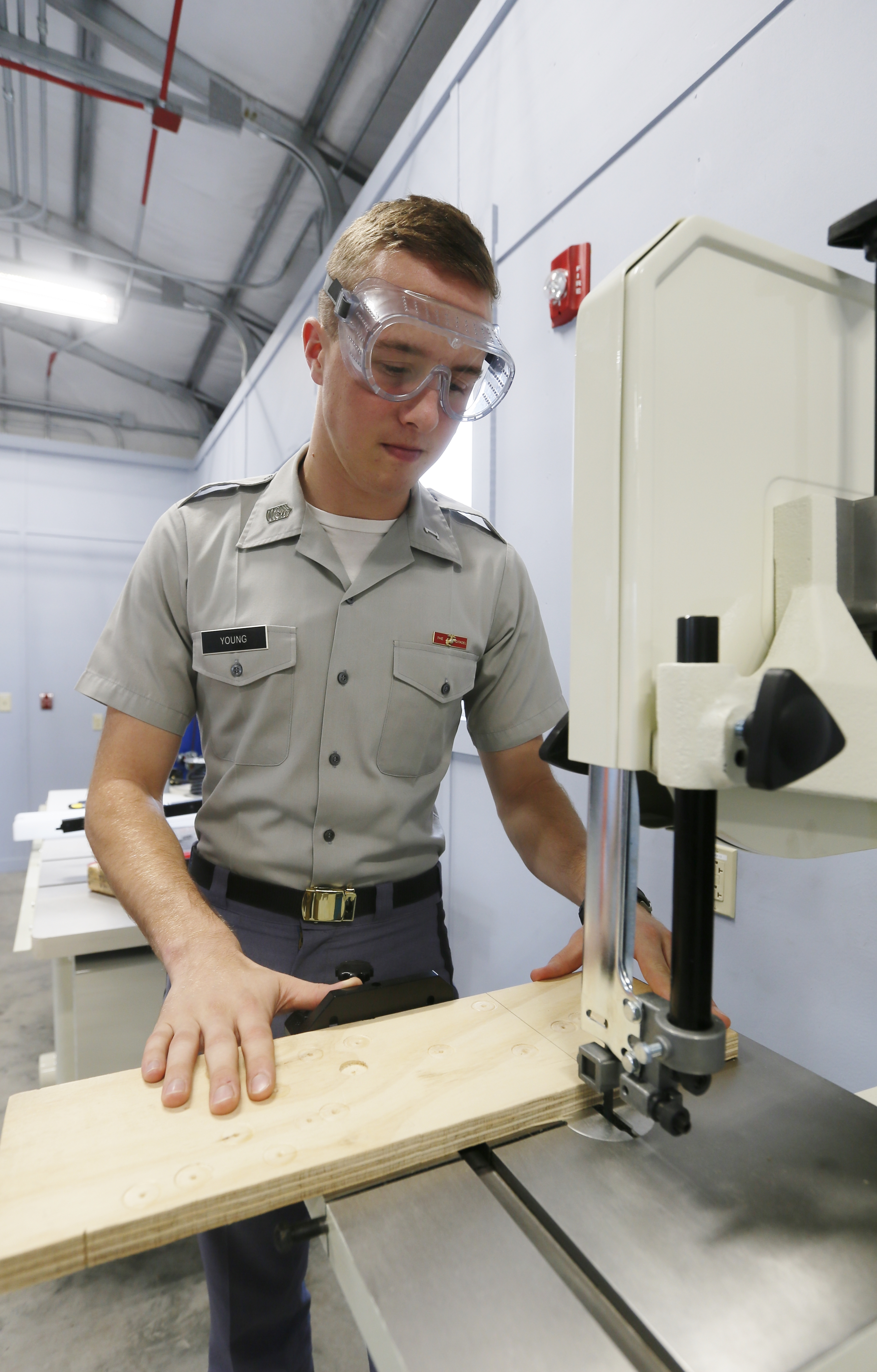 Citadel cadet in new fabrication shop