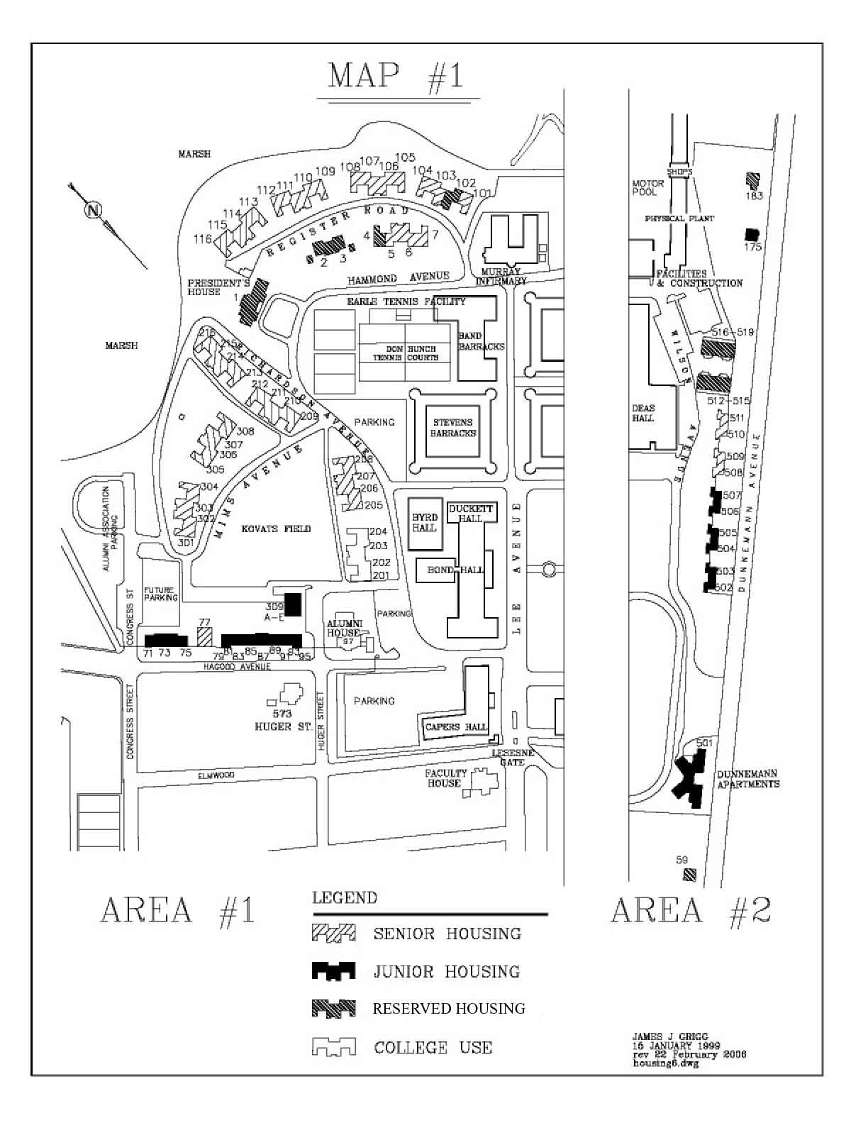 Campus Housing map for The Citadel