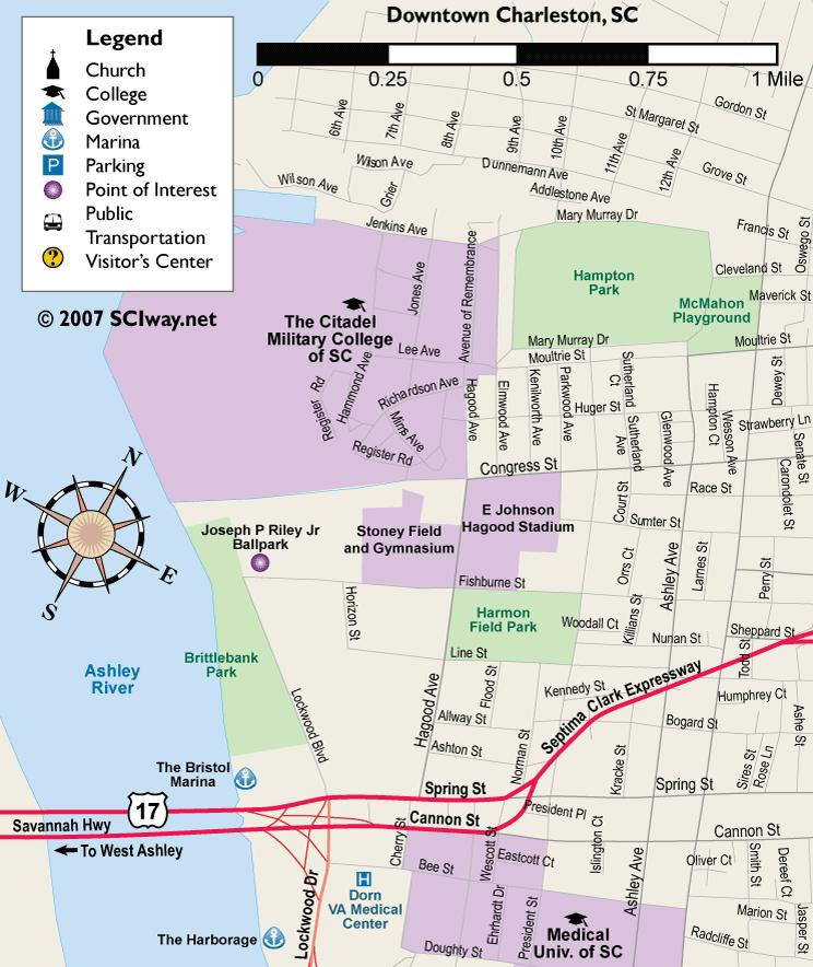 Downtown Charleston area map