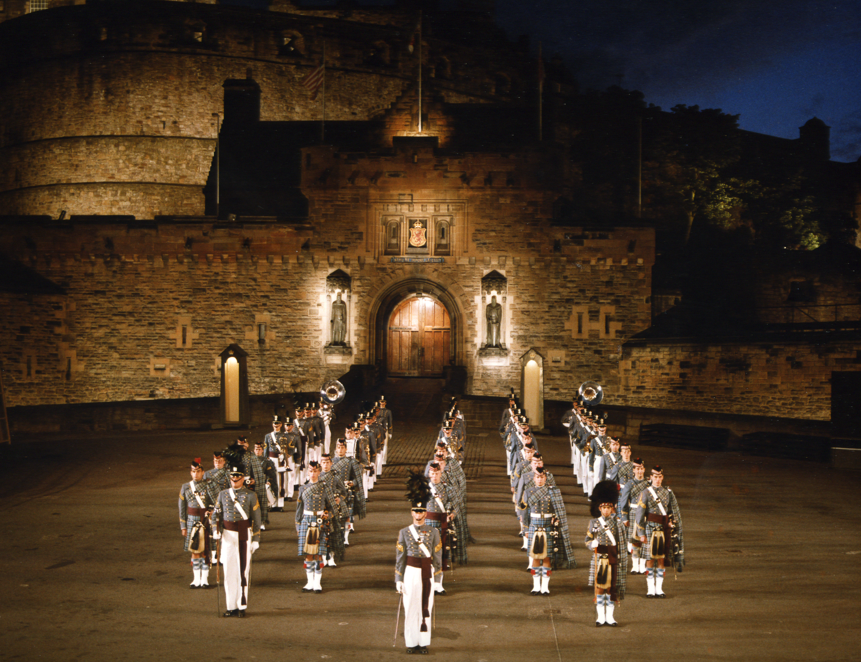The Citadel Regimental Band and Pipes performing in Edinburgh, Scotland